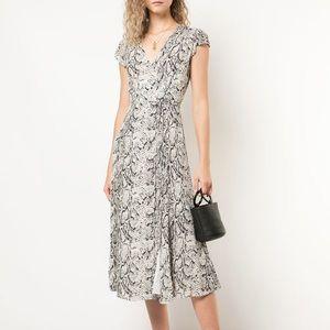 Reformation Carina Snakeskin Midi Wrap Dress XS